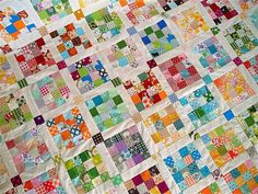 """Close-up of quilt with 169 16-patch blocks = 2900 two inch squares! (91"""" x 91"""")"""