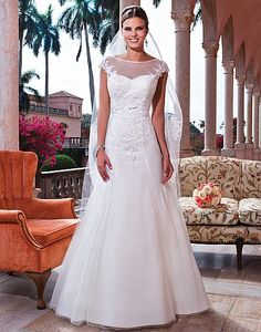 Style 6067: Tulle, corded lace fit and flare dress accentuated with a sweetheart neckline   Sweetheart Gowns
