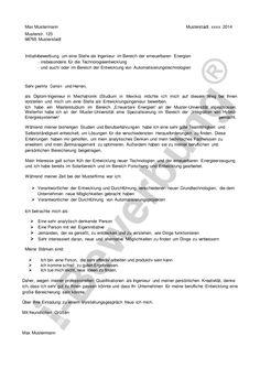 initiativbewerbung vorlage eines anschreibens fr ingenieure - Bewerbung Industriekaufmann