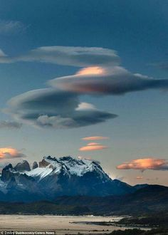 The cloud formations were snapped in the skies over Chile's Torres Del Paine National Park. Known as lenticular clouds All Nature, Science And Nature, Amazing Nature, Life Science, Weather Cloud, Wild Weather, Beautiful Sky, Beautiful World, Beautiful Places