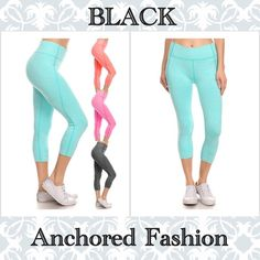 Black Capri Available in Pink, Mint, Black and Coral and Sizes S/M and L/XL. These capris are 92% Nylon and 8% Spandex. If you don't see the color or size you would like listed, please let me know. Pants Track Pants & Joggers