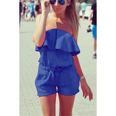 Yoins Off The Shoulder Elastic Waist Playsuit ($14) ❤ liked on Polyvore featuring jumpsuits, rompers, navy, navy blue romper, navy rompers, blue rompers, playsuit romper and blue romper
