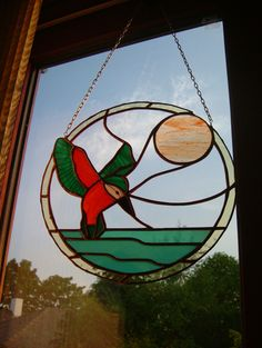 Circular kingfisher panel, made as a 40th birthday present (and she's now over 50!)