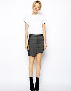 Image 1 ofASOS Step Hem Mini Skirt In Stripe