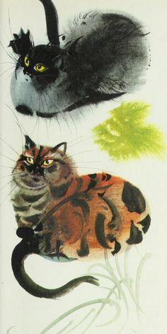 "Illustration by Mirko Hanák, 1971,""Dividing the cheese"", Animal Folk Tales, Grosset & Dunlap, NY. iL #Cat #Watercolor"