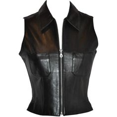 Preowned Michael Hoban/north Beach Leather Black Lambskin Zipper Vest... (£550) ❤ liked on Polyvore featuring black and bustiers