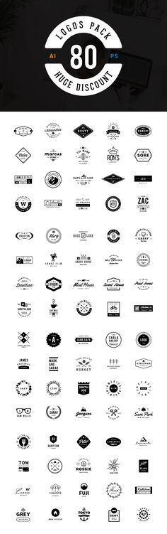 80 Logos Pack by vuuuds https://creativemarket.com/vuuuds/430307-80-Logos-Pack…