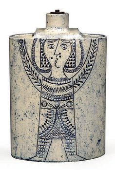 Jean Derval (1925-2010) for Roger Capron, N Stand model lamp 'Woman' Stoneware with incised decorations, Signed, 1970