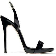 Giuseppe Zanotti Sophie patent-leather slingback sandals (€470) ❤ liked on Polyvore featuring shoes, sandals, heels, giuseppe zanotti, sapatos, high heel shoes, black strap sandals, black sandals, strappy heeled sandals and black heeled sandals