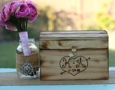 personalized wood card box.  Diy ... urne mariage