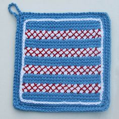 Striped Red White and Blue Crocheted Potholder With Cross Stitch