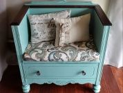 Most dressers are repurposed as some kind of table. Lisa, who sells upcycled furniture and writes for the blog Createinspire, no longer had a use for that sort of piece—but she did have an idea about how to transform the dresser into a seat. The finished piece looks completely different from the original.Find more photos and how she did it: Dresser Turned Bench