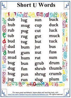 Short Vowel Sound - Word Lists - Short U