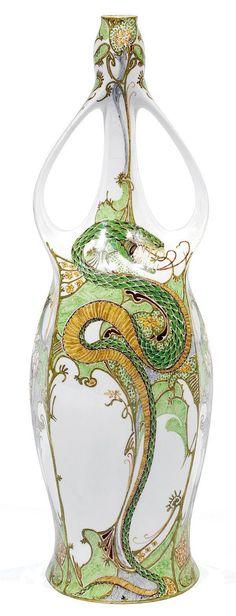 """** Rozenburg, Den Haag, """"Eggshell"""" Porcelain vase, painted by J.W.Van Rossum."""