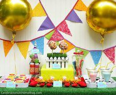 bright dessert table for kids: trix balls