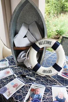 Walker's nautical birthday party was full of personalized details, custom made nautical party decorations and whimsical desserts. Boys 1st Birthday Party Ideas, Baby Boy First Birthday, 2nd Birthday, Nautical Baptism, Nautical Baby, Nautical Theme, Nautical Photo Booth, Nautical Backdrop, Nautical Wedding