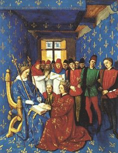 Homage of Edward I of England (kneeling) to Philip IV (le Bel) of France (seated), 1286. As Duke of Aquitaine, Edward was also a vassal to the French King.