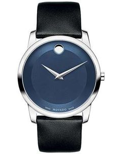 cee18e27249 Movado Museum Mens Watch - Blue Dial with Steel Case and Black Calfskin  Strap