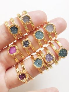 Hey, I found this really awesome Etsy listing at https://www.etsy.com/listing/255567357/leinani-ring-gold-druzy-ring-gold-ring