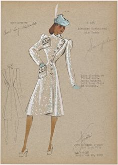 Side closing on fitted coat. From New York Public Library Digital Collections. Fashion Design Drawings, Fashion Sketches, Fashion Illustrations, 1930s Fashion, Fashion Art, Dress Sketches, New York Public Library, Picture Collection, Clothes Horse