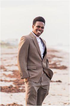 Groom standing on beach during Cocoa Beach Wedding