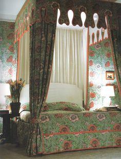 """Bedroom at Kelvedon Hall, Essex, 1966 designed by David Hicks.  From the book """"David Hicks a Life of Design"""" - Rizzoli 2009"""