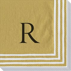 Gold Stripe Border Caspari Napkins