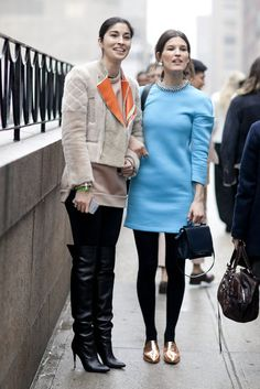 Caroline Issa and Hanneli were on the same page as far as pops of cool hues go.  #nyfw