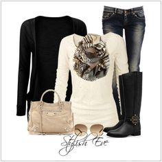 CHATA'S DAILY TIP: Winter white and black is a stunningly dramatic colour combination – from casual through to smart. A scarf, in a divine print, adds a gorgeous element of interest. If you are wearing long boots over your jeans remember to wear a skinny jean to avoid any excess fabric bulging over your jeans. COPY CREDIT: Chata Romano Image Consultant, Philna Pienaar http://chataromano.com/consultant/philna-pienaar/ IMAGE CREDIT: Stylish Eve