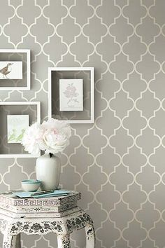 Moroccan Ogee in grey from Wallquest's Simplicity screen printed wallpaper collection