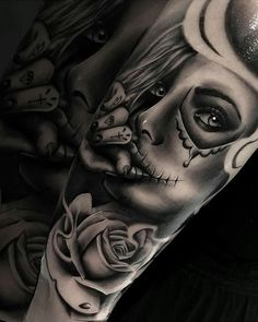 Celebrate Life and Death With These Awesome Day of the Dead Tattoos - Tatoo - Tattoo Designs for Women Day Of The Dead Tattoo Designs, Day Of The Dead Tattoo Sleeve, Realistic Tattoo Sleeve, Fake Tattoo Sleeves, Tattoos For Women Half Sleeve, Tattoos For Guys, Day Of The Dead Tattoo For Women, Tigh Tattoo, Chicanas Tattoo