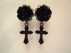 1/2 12mm Dangly Plugs / Gauges. Black Rose and by TheGaugeQueen, $22.00