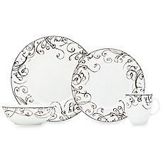 image of Simply Fine Lenox® Chocolate Fine China Dinnerware 4pc setting $99.99 (It says Fine China, but if I'm remembering correctly, this pattern is on bone china.) == YAY.  This is one of my favorite china patterns, because it looks like swirls of chocolate, and bone china is much stronger than people give it credit for.