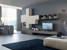 Modern style living room furniture: design furniture and decorations - ULWIX Living Room Wall Units, Living Room Storage, Living Room Furniture, Living Room Decor, Living Spaces, Gray Painted Walls, Grey Walls, Horizontal Bookcase, Italian Furniture