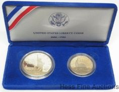 US 1986 Statue of Liberty Ellis Island Silver Dollar Proof Coin Set of 2