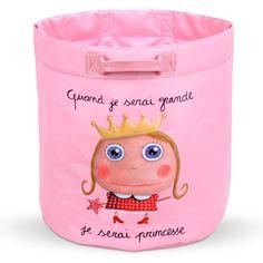 """Sac à jouet """"Quand je serai grande, je serai Princesse"""" - Le Coin des Créateurs #quandjeseraigrand #princesse #decochambreenfant #lecoindescreateurs #isabellekessedjian"""