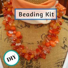 DIY Orange Necklace Beading Kit Pattern от BestBeadedBling на Etsy