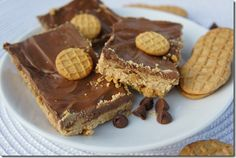Nutter Butter Bars (Nutter Butter Cookie Crust, Peanut Butter Filling, and Chocolate Topping)
