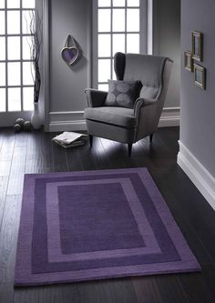 Bold & Striking Clayton Rugs to uplift your décor in style. #borderedrugs #purplerugs #modernrugs #largerugs #handtuftedrugs #purewoolrugs #woolrugs #purplewoolrugs