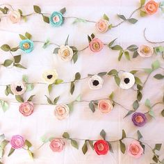 Fancy Free Finery, felt flower garland  6 foot long with extra foot on each end for hanging