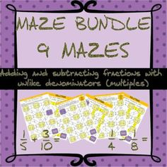 Adding and subtracting fractions with unlike (multiple) denominators maze bundle Adding Fractions, Adding And Subtracting Fractions, Equivalent Fractions, Student Work, Maze, Fun Activities, Students, Check, Number