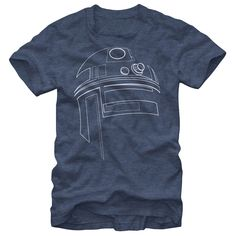 Simple R2D2No Jedi mind trick necessary, the Star Wars R2-D2 Outline Heather Navy T-Shirt is definitely the droid you are looking for. This Star Wars graphic tee starts with a simple outline of Luke Skywalkers pal R2-D2 for a classic Star Wars look.Star Wars Classic