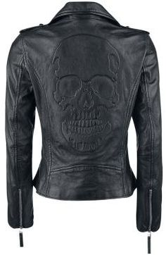 I can see this under a bucket helmet. I'll introduce a dirty, disorderly troublemaker. (Skull Leather Jacket by Black Premium by EMP)