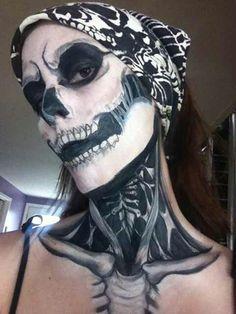 serious scull makeup.
