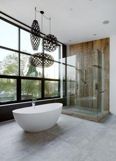 design moderne avec baignoire îlot et éclairage suspendu