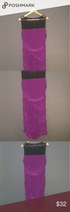 """PLUS SIZE Bodycon Dress Purple and black bodycon dress with mesh yoke and gathered/ruffled skirt. Hangs beautifully and looks very slimming on. Plenty of stretch. Wore once. I think the tag on the inside is missing, but I know its a size 1X and it's 100% polyester. Wash cold, like colors, hang dry or dry on low. 20"""" at bust, 26"""" long. Hits a little below the knee on a short lady like me. Soprano Dresses"""