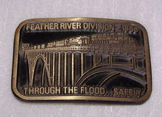 Union Pacific Feather River Division Brass Belt Buckle Dynabuckle 1986 #Dynabuckle #Casual