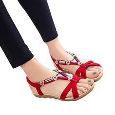 162e084336e4 OHQ Sandales Femme BohèMe Beige Noir Rouge D éTé Femmes Chaussures Peep-Toe  Plates