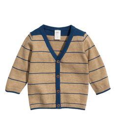 H cardigan. I love H baby clothes! Vest Outfits, Baby Boy Outfits, Kids Outfits, Jones Baby, Cotton Cardigan, Striped Cardigan, Baby Vest, Boys Sweaters, Kids Fashion Boy
