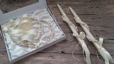Greek wedding set, stefana tiara crowns and candles lambades lambathes marriage set, porcelain decoration rose flower buds blossoms We are glad to present you our wedding marriage bridal set that comes with tiara bridal crowns and long thing candles known as lambades or lambathes. Both are Bridal Crown, Bridal Tiara, Bridal Headpieces, Bridal Sets, Wedding Sets, Our Wedding, Gold Leaf Crown, Groom Buttonholes, Christening Favors